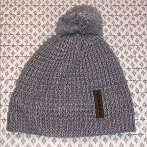 Fuzzy lined gray knit winter hat